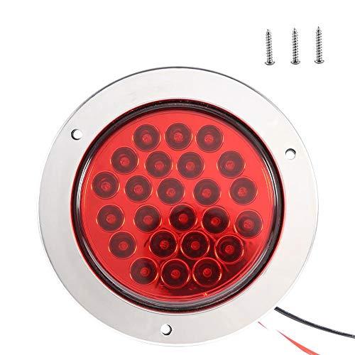 Duokon achterlicht voor vrachtwagens, rond, met 24 LED's, achterlicht voor knipperlichten voor aanhangers, vrachtwagens default Rood