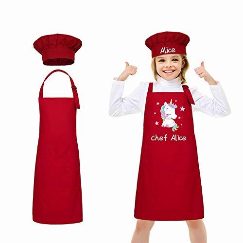 LAOKEAI Personnalisé de Enfant Tablier et Chapeau de Chef Set, Tabliers de Cuisine des Enfants Ajustable Tablier de Chef avec 2 Poches, pour Cuisine, Cuisson, Peinture(Rouge)