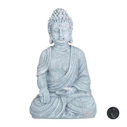 Relaxdays sitzende Figur, 40 cm hoch, Feng Shui, Outdoor, Garten Dekofigur, große Zen Buddha Statue, hellgrau