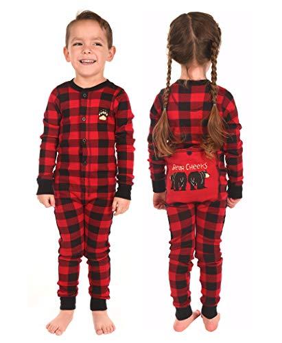 LazyOne Flapjack, Matching One-Piece Pajamas with Drop Seat, Kids (Plaid Bear Cheeks, 6)