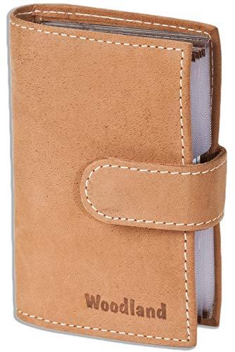 Woodland - caso de la tarjeta de crédito-XXL con 19 bolsillos para tarjetas de piel de ante suave, sin tratar en Cognac