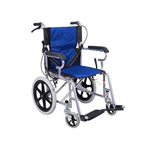 WSHFHDLC Leichte Faltbare Rollstühle Gleitschienen, Vollgummireifen, tragbares Aluminium, ältere Kinder Armlehne/rote Balken (Color : Blue)