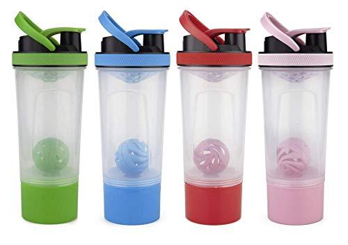 Home Ware Botella Mezcladora de Proteina Shaker Termo Gimnasio Batidor Suplementos Gym 500ml (Rojo/Transparente)