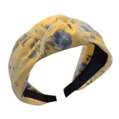 Sayhi Women's Lace Sequin Headband Print Creative Wide-brimmed Headwear Knot Turban Headband for Girls(Yellow,Free Size)