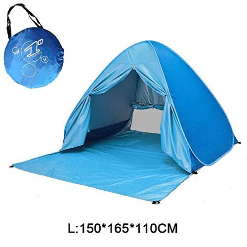 Mdsfe Beach Camping Tent Pop Up Automatic Open Family Ultralight Folding Tourist Fish Anti-UV Fully Sun ShadeTent 2-5 Persons XA164A-Blue WL
