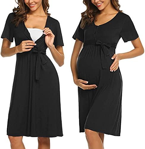 ADOME Frauen Pflege/Geburt/Krankenhaus Nachthemd Kurzarm Nachthemd Umstandsnachthemd mit Knopf Stillnachthemd für Schwangere und Stillzeit, B-schwarz, XL