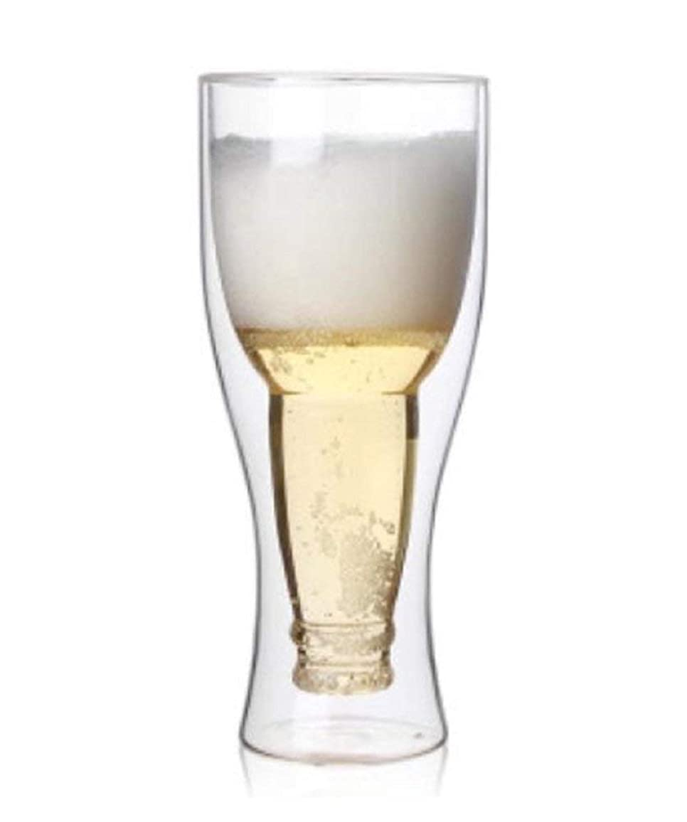 目の前の冷蔵庫嫌がる【morningplace】 ダブルウォール グラス ビール グラス タンブラー 二重構造 耐熱 保冷 (450ml.)
