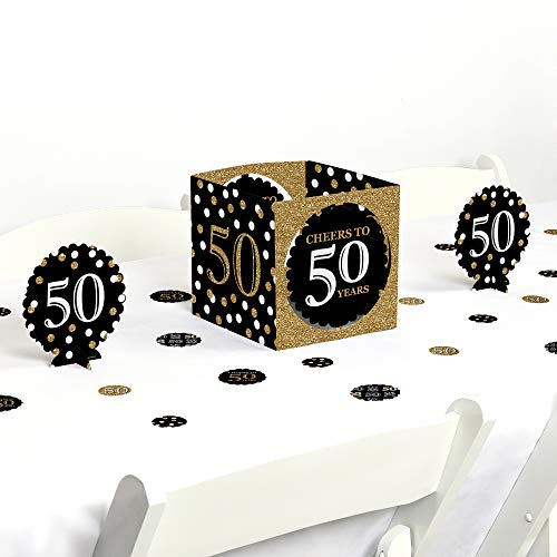Big Dot of Happiness Adult 50th Birthday - Gold - Birthday Party Centerpiece & Table Decoration Kit
