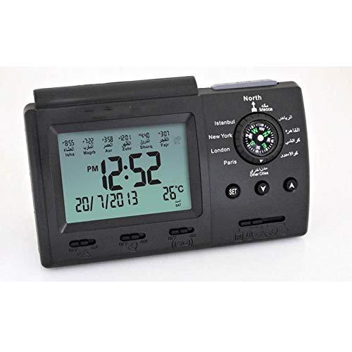 WWWL Reloj despertador Super Azan de escritorio con diseño de oración musulmana azan reloj de escritorio despertador Clcok multifuncional brújula, calendario electrónico azan reloj negro
