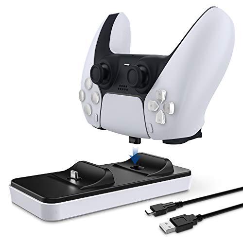 Estación de carga portátil para mandos PS5, innoAura cargador dual de mandos PS5 con 2 puertos de carga tipo C extraíbles, blanco