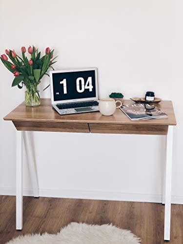 Borcas® Bureau en bois naturel avec tiroirs Fabriqué en Pologne Design moderne Fabriqué à la main en bois naturel Chêne, hêtre 100 x 77 x 50 cm