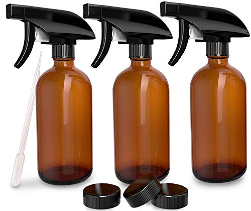 3 Pack - Refillable Empty Amber Glass Spray Bottles [Free Phenolic Cap and Pipette] Great for Cleaning Solutions, Hair, Essential Oils, Plants - Trigger Sprayer with Mist and Single Mode (8 OZ)