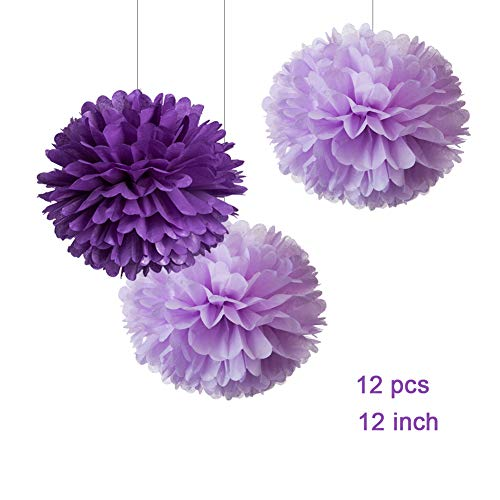 WEVEN 12' Purple Lilac Tissue Pom Poms Kit DIY Hanging Paper Flowers for Party Decoration, Pack of 12