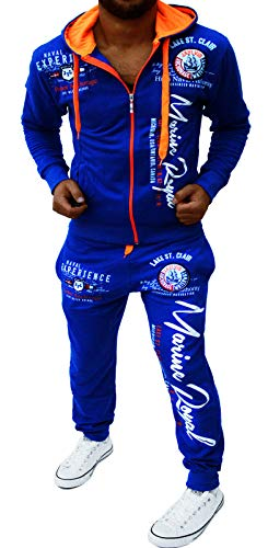 Yalvis Herren Trainingsanzug Jogginganzug Sportanzug Streetwear Jogger Hausanzug A. Marine Blau-Orange S