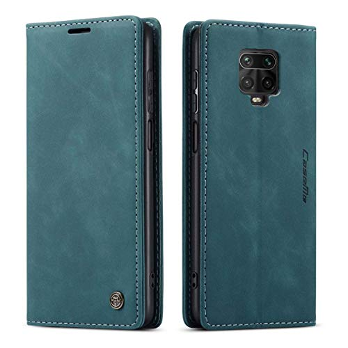 mvced Funda para Xiaomi Redmi Note 9S/Note 9 Pro/Note 9 Pro MAX,Funda Móvil Funda Libro con Tapa Magnética Carcasa,Azúl