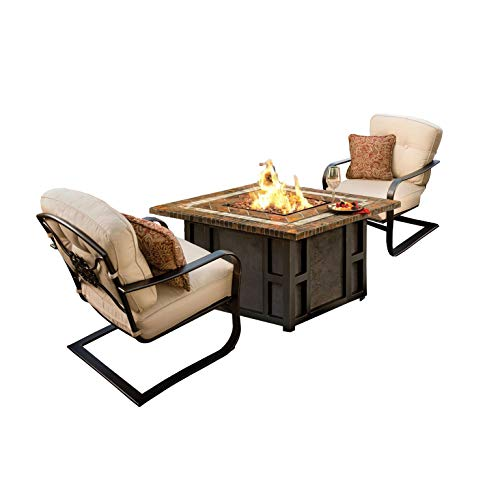 Why Choose CC Outdoor Living 3-Piece Stone Square Gas Fire Pit Set w/Cream Patio Spring Chairs