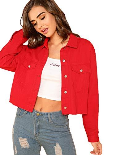 SheIn Women's Basic Long Sleeve Button Down Ripped Denim Jacket Outerwear Medium Red