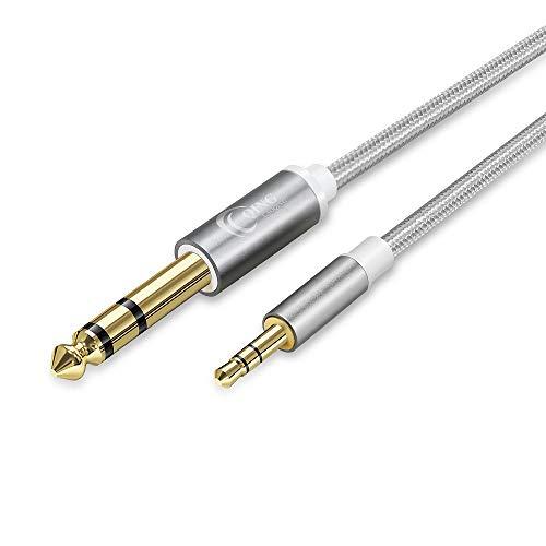QING CAOQING 3,5mm auf 6,35mm TRS Kabel 1M, Professionelles Nylonweben Stecker zu Stecker Stereo Audio Aux Kabel für Mischpult, Mikrofon, Laptop, Gitarre, Heimkino-Geräte, Lautsprecher
