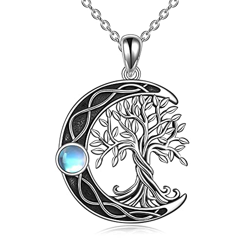Tree of Life Necklace 925 Sterling Silver Celtic Knot Moon Pendant Necklace with Moonstone Family Tree Jewelry for Women