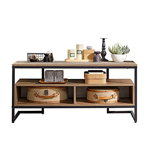 """TV Cabinet for up to 50"""" TV, 43"""" Industrial Corner TV Stand with 3-Tier Open Storage Shelves, Entertainment Center TV Console Table with Metal Frame, Rustic Brown, Coffee Table for Living Room Bedroom"""