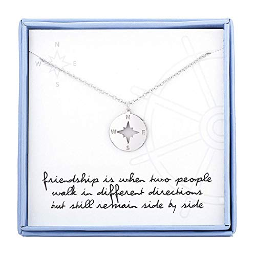 Best Friend Necklaces Compass Necklace For Best Friend Sterling Silver Friendship Necklaces BFF Gifts Jewelry For Women Girls Birthday Gifts Graduation Gifts