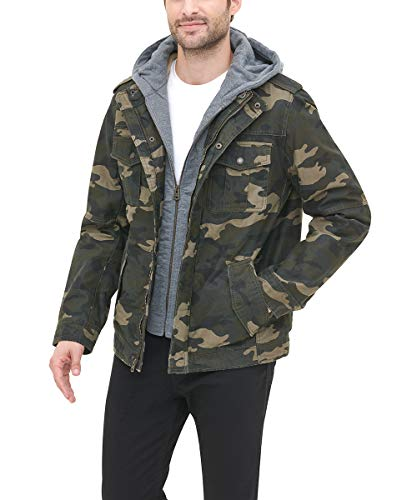 Levi's Men's Washed Cotton Military Jacket with Removable Hood (Standard and Big & Tall), Camouflage, Large