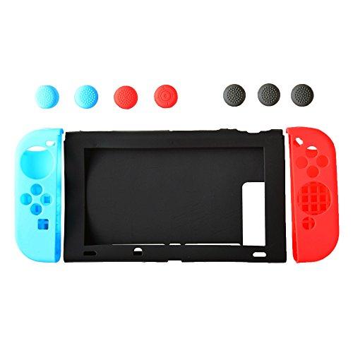 KIT COMPLETO DI PROTEZIONE PER NINTENDO SWITCH IN SILICONE Custodia Protettiva Nintendo Switch in Silicone Kit Cover Nintendo Switch Anti-Scivolo e An