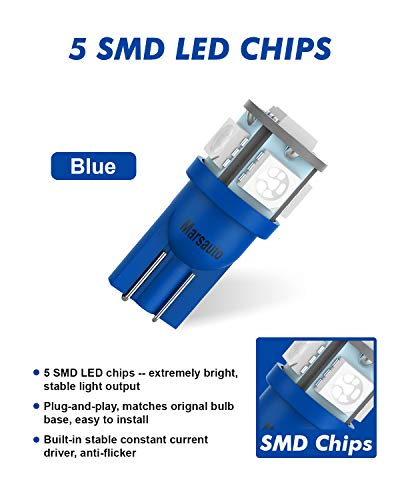 Marsauto 194 LED Bulb Blue 168 T10 2825 5SMD No Polarity Replacement Bulbs for Car Dome Map Door Courtesy License Plate Dashboard Lights Lamp 12V