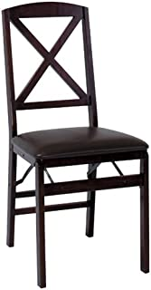 Cosco Espresso Wood Folding Chair with vinyl seat & X-Back (2-pack)