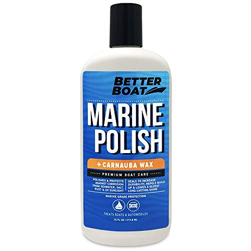 Boat Polish with Carnauba Wax for High Gloss Marine Fiberglass Metal Painted Surfaces and More Boats RV and Cars