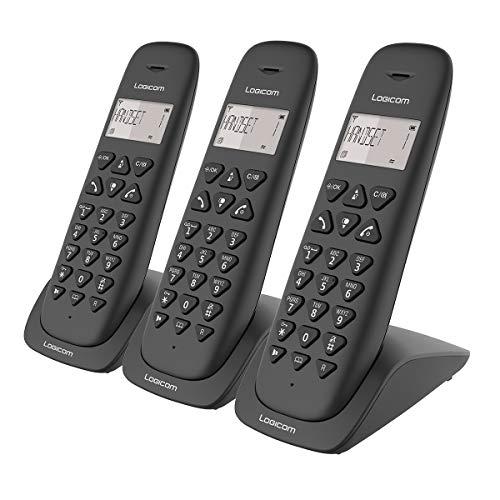 Telephone fixe sans fil - Téléphone fixe sans fil sans Répondeur - Trio - Téléphones analogiques et dect - Logicom VEGA 350 Téléphone Fixe sans Fil Trio 3 combinés Noir