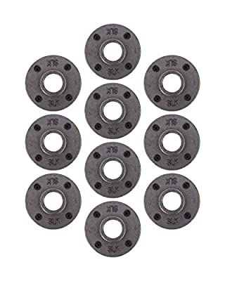 Pipe Decor Malleable Cast Iron Floor Flange 10 Pack, Industrial Steel Grey Fits Standard Threaded Black Pipes and Fittings, Build and Create Vintage Furniture, Ten Plumbing Flanges 1/2, 3/4, 1 inch