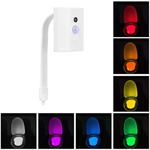 Luce notturna LED per WC, con sensore di movimento, lampada a batteria risparmio energetico per sedile WC, (16colori, batterie incluse), coloured toilet light, 1 pezzi 4.50 watts