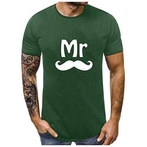 Dasongff Partner-shirt voor dames en heren, Mr Mrs, partner-look, set T-shirts voor koppels als geschenk Medium groen/heren.