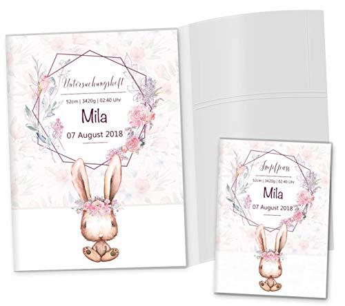 U-Heft Hülle 3-teilig Cute Bunny Hase SET Untersuchungsheft Hülle & Impfpasshülle schöne Geschenkidee personalisierbar mit Namen & Geburtsdatum (U-Heft Hüllen Set 3-teilig personalisiert, Romy)