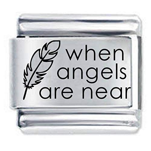 When Angels are Near Etched Italian Charm - fits all 9mm Italian Style Charm Bracelets Charms