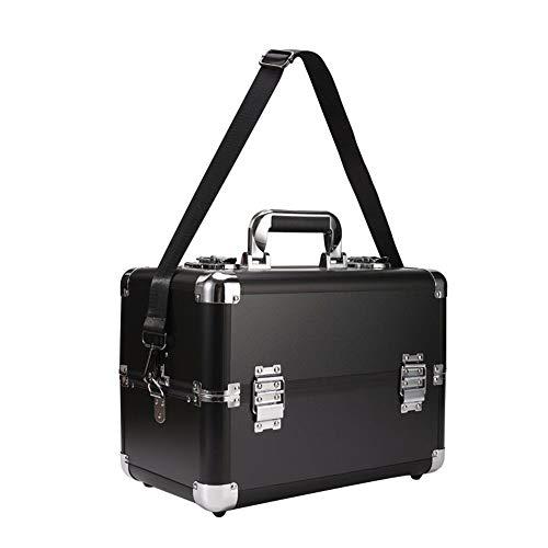Storage Box Boîte de Rangement cosmétique de Gros Ongles, 4 Plateaux Coffret beauté Portable avec Serrure Colle Vernis à Ongles Organiser Cas de beauté Voyage