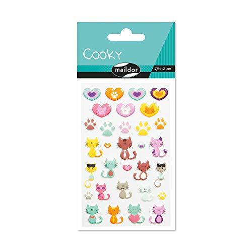 Maildor 560500C Packung mit Stickers Cooky 3D (1 Bogen, 7,5 x 12 cm, ideal zum Dekorieren, Sammeln oder Verschenken, Katze) 1 Pack