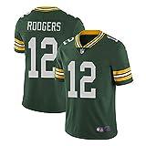 WFGY Camiseta del Jersey del fútbol de la NFL Green Bay Packers Aaron Rodgers # 12, fútbol Americano Ropa de Deporte, Camiseta Vestimenta, Ventiladores de Bordado Versión Fan Camisetas,Verde,XL