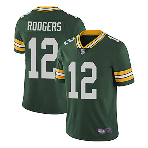 WFGY NFL Green Bay Packers Aaron Rodgers # 12 Green Bay Packers Football Jersey, Fußball Sportbekleidung, T-Shirt Bekleidung, Fanversion Stickerei Fans T-Shirts,Grün,L
