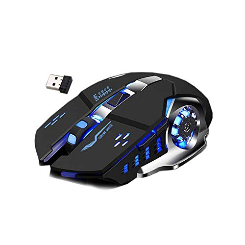 S & E TEACHER'S EDITION Wireless Gaming Mouse, Slim Rechargeable Silent Mouse, 7 Color LED Light, 4 Adjustable DPI, 2.4G Portable USB Wireless Computer Mice(Black)