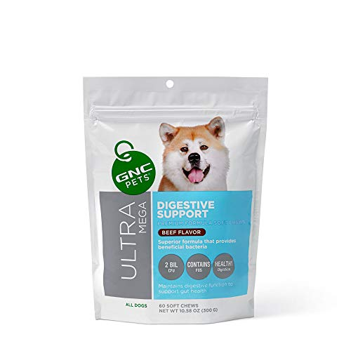 GNC Pets Ultra Mega Digestive Support Soft Chews for Dogs, 60 Count - Beef Flavor | Maintains Digestive Function to Support Gut Health (FF14386)