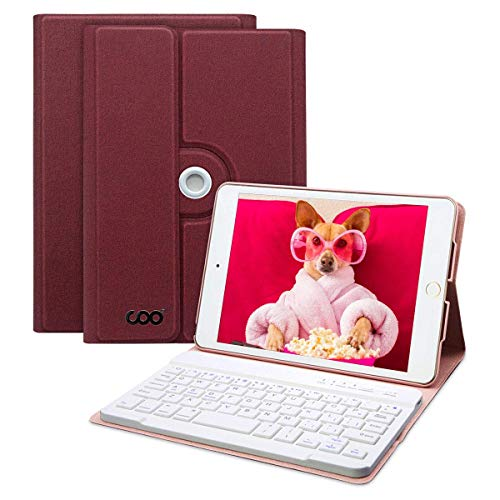 HOTLIFE iPad Mini 4 -A1538/A1550 Hülle Tastatur, 360 Grad rotierende Stand Keyboard Case mit Mulit-Angle- Ständer-Funktion, mit Auto Schlaf/Wachen, Bluetooth Deutsches QWERTZ Layout (Weinrot)