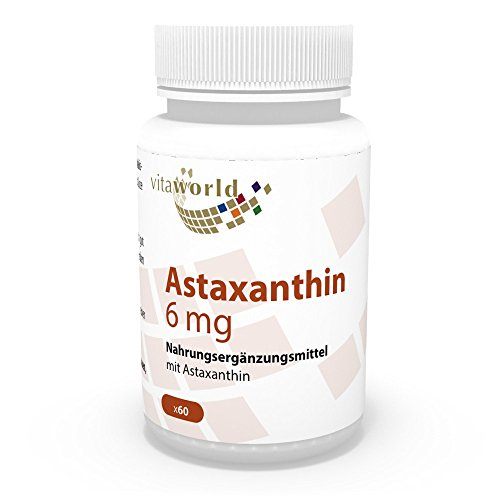 Vita World Astaxanthin 6mg 60 Vegi Kapseln Apotheken Herstellung ohne Zusätze 100 % natürlich aus Haematococcus pluvialis