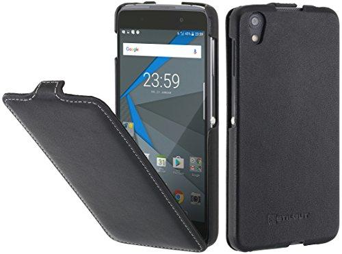StilGut UltraSlim Hülle Hülle Leder-Tasche für BlackBerry DTEK 50. Dünnes 360 Grad Flip-Hülle vertikal klappbar aus Echtleder für das Original BlackBerry DTEK50, Schwarz Nappa