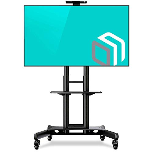 """ONKRON Mobile TV Stand with Mount Rolling TV Cart for 40"""" – 70"""" LCD LED Flat Screen TV with Wheels Shelves Height Adjustable TV Trolley (TS15-51)"""