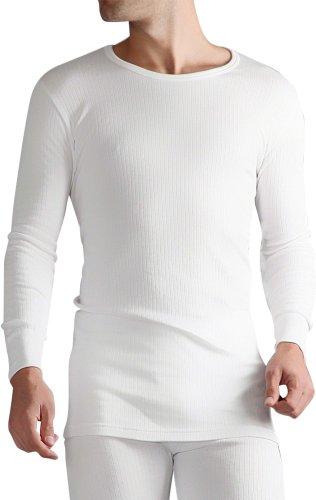 HEAT HOLDERS - Herren 0.45 tog Winter warm Baumwolle Thermo unterwäsche Langarm unterhemd (X-Large: 112-118 cm Burst, Weiß)