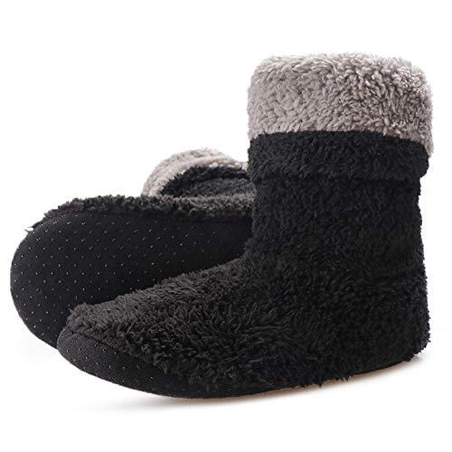 wefwef schwarz Indoor Boden Schuhe Home Rutschschuhe Damen Warm Winter Furry Slides Coral Fleece Room Slipper Indoor Socke Schuhe