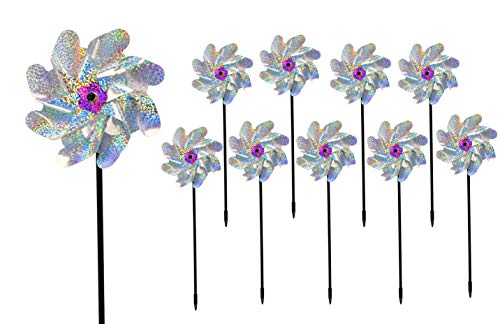 "Home-X Holographic Glitter Windmills for The Yard, Wind Spinner Set, Garden Decor, Bird Scare Devices, Pack of 10, 6 ¾"" Dia. x 17' H, Shiny Silver"