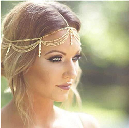 Denifery Gold Rhinestone Wedding Bridal Prom Bohemian Boho Grecian Head Chain Hair Jewelry Head Piece Bollywood Bride Glamorous